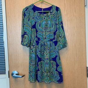 ENFOCUS Blue and Green Paisley Dress